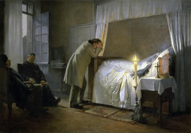 """""""La mort de Madame Bovary"""". Illustration du roman de Gustave Flaubert. Peinture de Albert Auguste Fourie (1854-1937), 1883. Huile sur toile. Dim : 141x208cm. Musee des Beaux Arts, Rouen ©SuperStock/Leemage"""