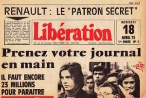 Une de Libération n°1, 1973